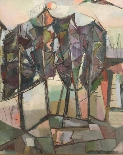 Emma Ehrenreich, 'American Woman Modernist Oil Painting Abstract Cubist Landscape', Mid-20th Century