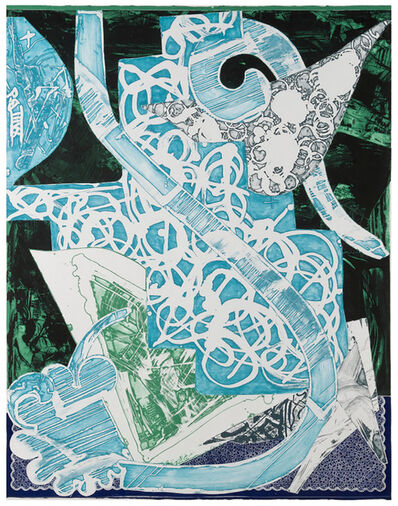 Frank Stella, 'Swan Engraving Blue, Green, Grey', 1985