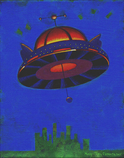 Ray-Mel Cornelius, 'Giant Flying Saucer Over a Large City on a Small Canvas', 2019