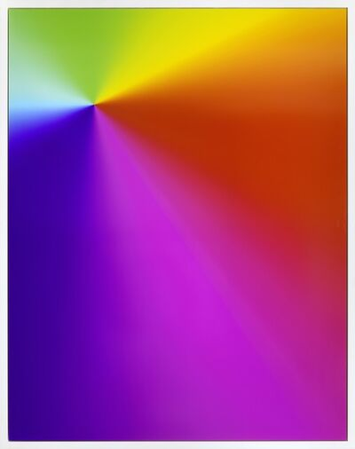 "Cory Arcangel, 'Photoshop CS: 84 x 66 inches, 300 DPI, RGB, square  pixels, default gradient ""Spectrum"", mousedown', 2009"