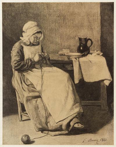 François Bonvin, 'Servant Knitting', 1861
