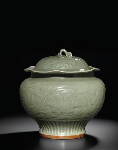 Unknown Chinese, 'A carved 'Longquan' celadon jar and cover (Yuan dynasty)', Yuan dynasty (1279-1368)