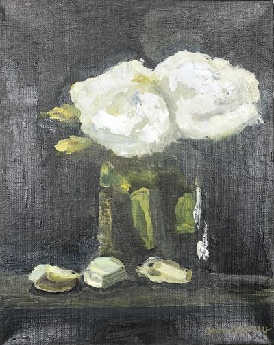 """Anne Harney, '""""White Roses and Brussels Sprouts"""" impressionist style still life oil painting of white flowers on black background', 2020"""