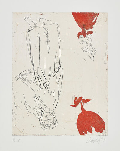 Georg Baselitz, 'Frau am Abgrund, zwei Rosen (Woman at Abyss, Two Roses)', 1999