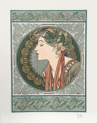 Alphonse Mucha, 'Lady in Green', 1901