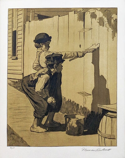 Norman Rockwell, 'WHITE WASHING (SEPIA)', 1976