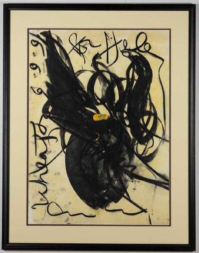 Dale Chihuly, 'Dale Chihuly Untitled Original Signed Abstract Acrylic Painting in Black Contemporary Art ', 1991