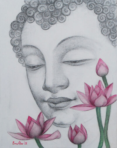 Bratin Khan, 'Enlightened, Buddha, Charcoal and Pastel by Contemporary Artist Bratin Khan', 2012