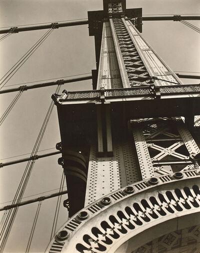 Berenice Abbott, 'Manhattan Bridge: Looking up from Bowery and Canal Street', 1936