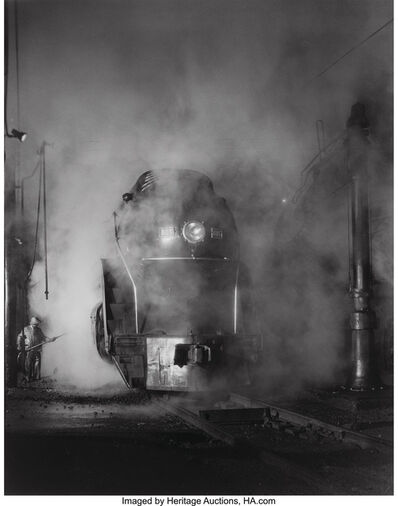 O. Winston Link, 'Washing J Class 605 at Schaffer's Crossing, Virginia', 1955