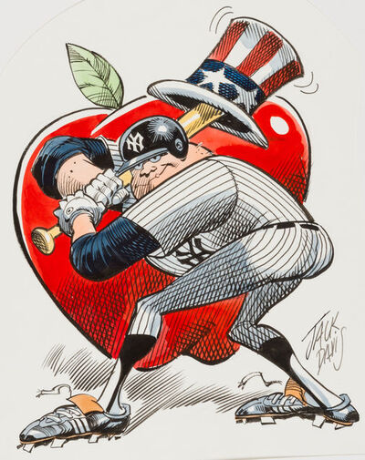 Jack Davis, 'New York Yankees Baseball Illustration; Original Art', 1990