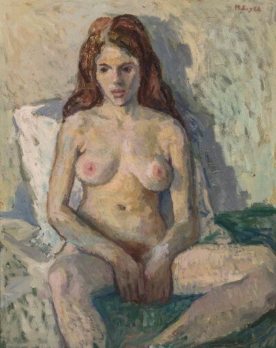Moses Soyer, 'Nude on Green Blanket'