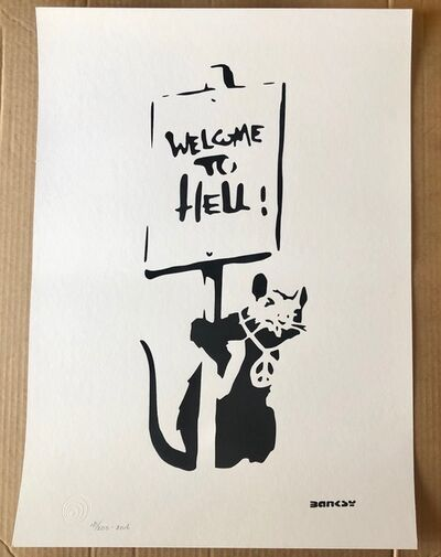 "After Banksy, '""Welcome to Hell""', 2016"
