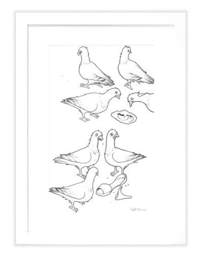 Todd Francis, 'PFANNER PIGEONS LINE ART W/ HIGH HEEL'