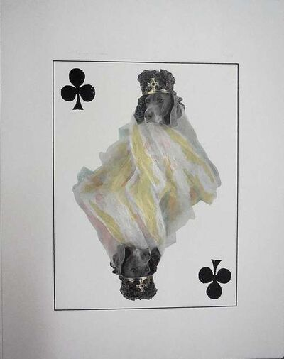 William Wegman, 'Photo Lithograph Royal Flush Clubs King Dog', 1990-1999
