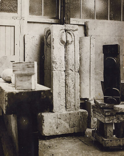Constantin Brâncuși, 'La Colonne du Baiser, Fragment (View from the studio)', circa 1917