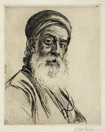 Ephraim Moses Lilien, 'Portrait of a Bearded Man  ',  Israeli Bezalel Judaica