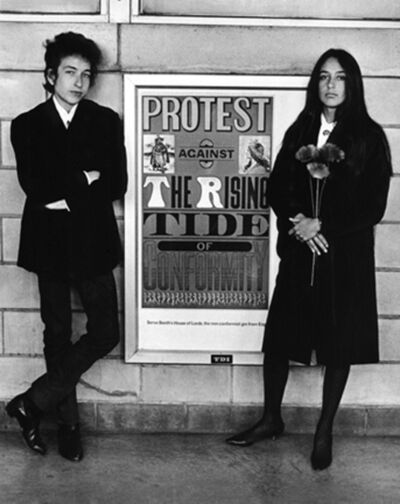 Daniel Kramer, 'Bob Dylan and Joan Baez with Protest Sign, Newark Airport', 1964