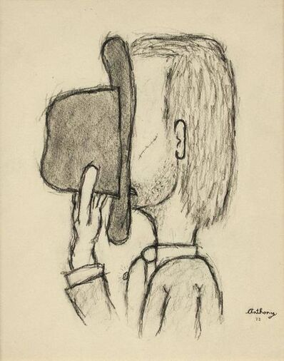 William Anthony, 'Hiding Behind the Hat, Contemporary Drawing, 1972', 20th Century