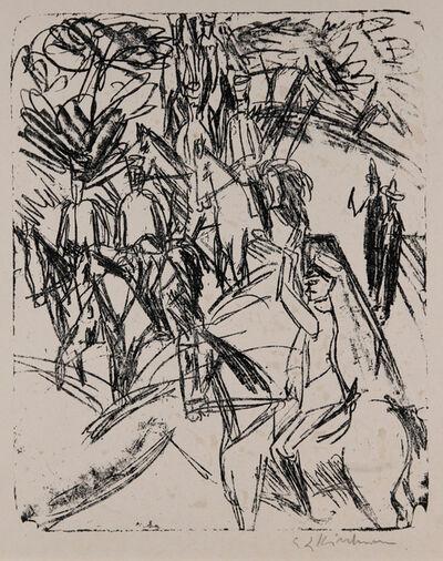Ernst Ludwig Kirchner, 'Flussübergang der Reiter', 1915