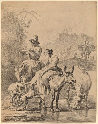 Nicolaes Pietersz Berchem, 'Shepherdess on a Donkey', 1655