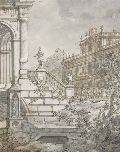 Giovanni Francesco Costa, 'An architectural capriccio: the terrace of a villa, with another villa in the distance'
