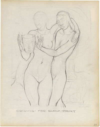Charles White, 'DRAWING FOR BLOCK PRINT (TWO WOMEN WITH MASK)', ca. 1935-38