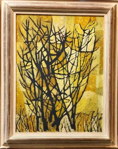 David Shapiro (1944-2014), 'Stylized Landscape Mid Century Modern Cubist Tree Oil Painting', Mid-20th Century