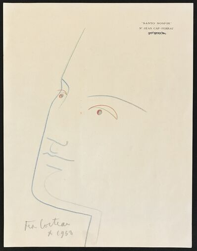 Jean Cocteau, 'Portrait in Blue', 1958