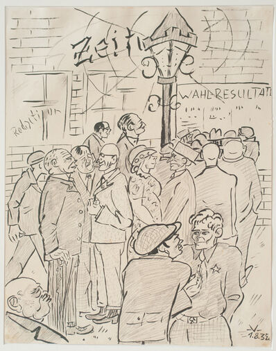 Bruno Voigt, 'Vor der Redaktion (Infront of the editorial office)', 1934