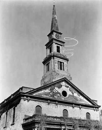 "Berenice Abbott, 'St. Mark's Church: Sky-writing Spiral (from the series ""Changing New York"")', 1937"