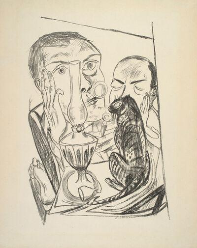 Max Beckmann, 'Selbstbildnis mit Katze und Lampe', 1920