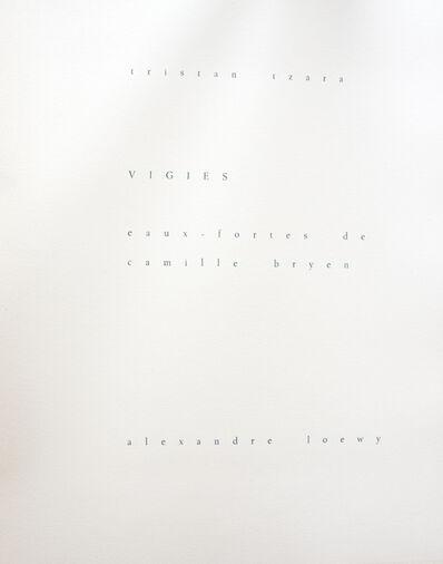 Tristan Tzara, 'Vigies', 1962