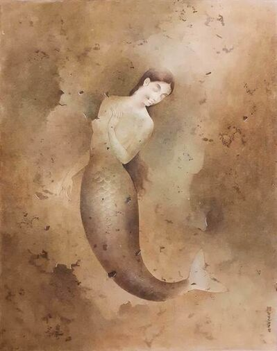"Mintu Naiya, 'Mermaid, Wash on Board, Brown, Green Colours by Contemporary Artist ""In Stock""', 2008"