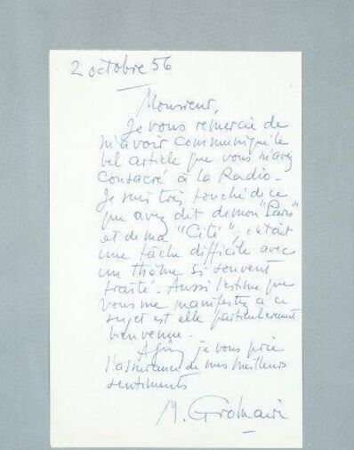 "Marcel Gromaire, 'Letter handwritten by Marcel Gromaire to André Saulnier with text mentioning ""his Paris and his city""'"