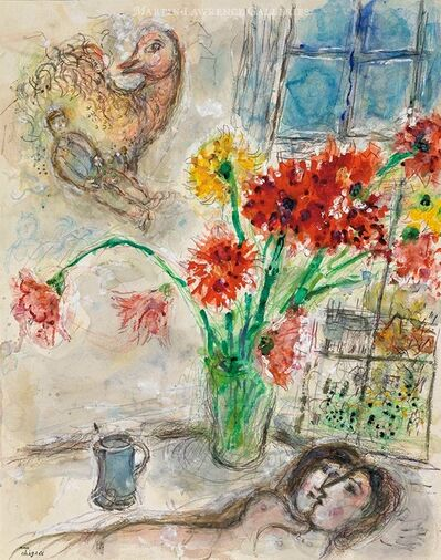Marc Chagall, 'Lovers in Bouquet of Dahlias, watercolor ', 1971