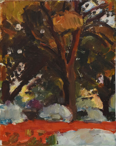 Sargy Mann, 'Red Flower Bed and Chestnut Trees', 1971
