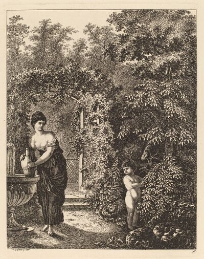 Salomon Gessner, 'Putto Visiting a Girl at a Fountain', 1771