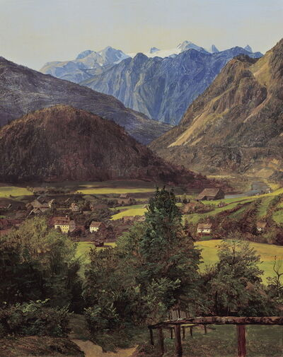 "Ferdinand Georg Waldmüller, 'View of the Dachstein from the ""Sophien-Doppelblick"" near Ischl', 1835"