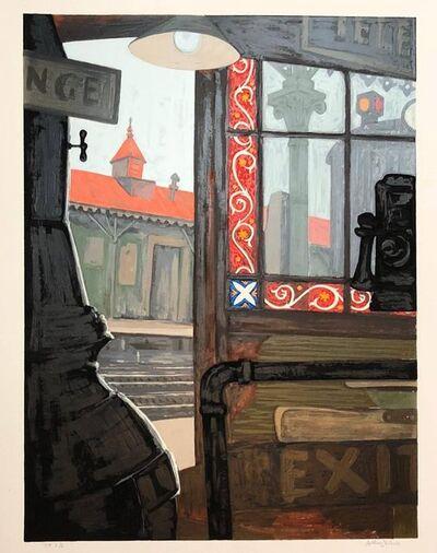 Anthony Velonis, 'Modernist Silkscreen Screenprint 'El Station, Interior' NYC Subway, WPA Artist', 1980-1989