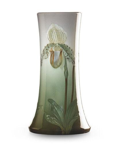 Carl Schmidt, 'Fine Iris Glaze vase with ladyslipper orchids, Cincinnati, OH', 1908