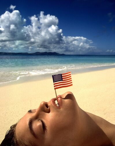 Albert Watson, 'Cindy Crawford with Flag, U.S. Virgin Islands', 1993