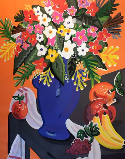 Apostolos Chantzaras, 'Bouquet with Orange Background', 2018