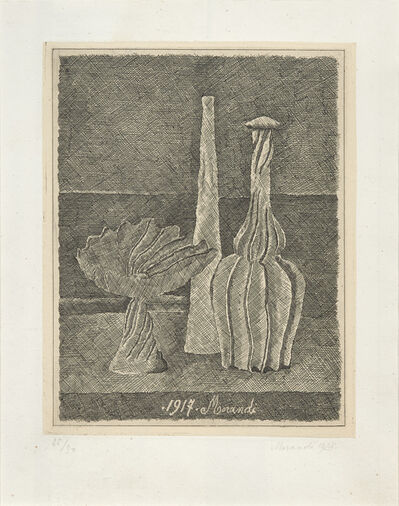 Giorgio Morandi, 'Natura morta con compostiera, bottiglia lunga e bottiglia scannellata, 1928 (Vitali 50)', 1928