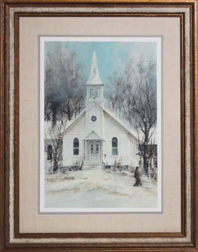 John Berkey, 'White Church/Winter Scene, Winesburg, Ohio', 1979