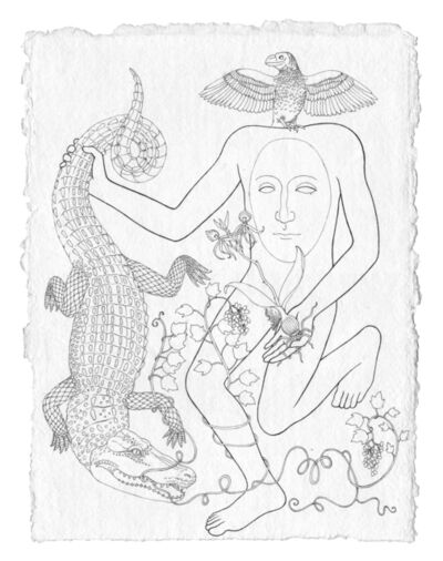Trevor Foster, 'Forest Spirit XIII - Blemmyes forest spirit holding an american alligator sprouting moonseed vine, with a clamshell orchid and a smooth-billed ani perched on its shoulders', 2021