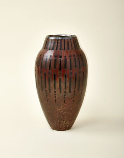 Jean Dunand, 'Dinanderie vase, of ovoid form, lacquered with red and black lines, rectangles, and squares', ca. 1930