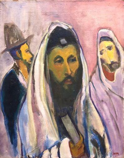 Frederick B. Serger, 'Polish French Fauvist Judaica Oil Painting Rabbi at Prayer', 1940-1949