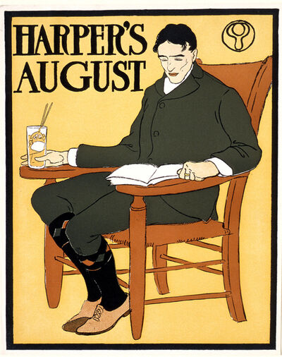 Edward Penfield, 'Man Seated in Orange Chair, August Harper's', 1885-1915