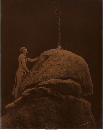 Edward Sheriff Curtis, 'Signal Fire to the Mountain God', 1912